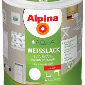 Эмаль акриловая белая Alpina Aqua Weisslack матовый 2л